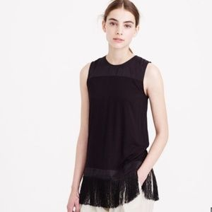 J. Crew Womans Top Sz S Black Fringe Tank